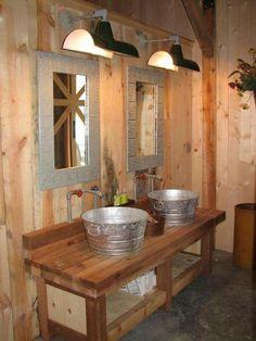Rustic Bathroom Sink with Galvanized Steal Bucket Sinks