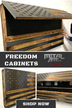 Steel Frame with keyed lock Cabinet comes stuffed with foam that can be configured to store guns, booze or any of your dirty little secrets Flag is cut from 16 gauge, cold rolled, mild steel (very strong) Ground and polished, then covered in 3 layers of glossy clear coat Flag is set in grooves and is flush with surface of wood for an amazing 3 dimensional look Diy Bedroom Decor, Diy Home Decor, Hidden Gun Storage, Gun Rooms, American Flag Wood, Hidden Compartments, Diy Cabinets, Diy Woodworking, Cold Rolled