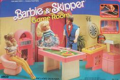1988 Vintage Barbie & Skipper Game Room - still factory sealed in box from Arco Toys - Includes Diorama, Play a Game of Pool, Pretend Popcorn Pops. Floor Decoration not included. Mattel Barbie, Barbie Games, Barbie And Ken, Barbie Dolls, Vintage Barbie, Vintage Toys, Barbie Playsets, Baby Doll Accessories, Barbie Dream House