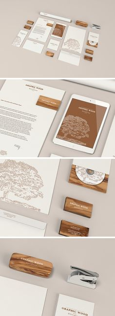 Stationery MockUp – Wood Edition | GraphicBurger