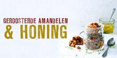 geroosterde amandelen met honing, zeezout