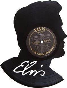 Elvis Silhouette Vinyl Record Art by RecordsRedone on Etsy, $45.00