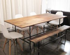wooden tables with metal legs - Google Search