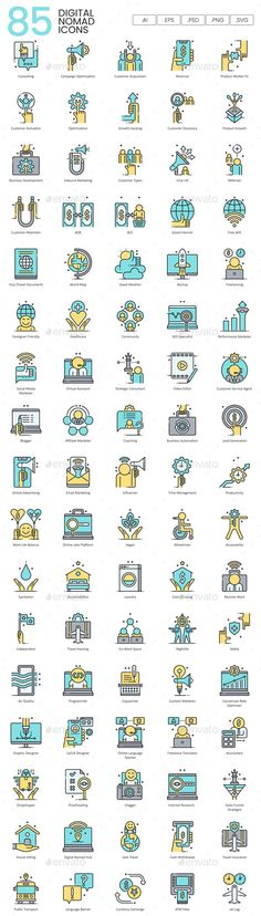 Buy Digital Nomad Icons - Aqua Series by Krafted on GraphicRiver. The advancement of technology has given birth to people who live as digital nomads. Digital Nomads are people who do . Outline Illustration, Envato Elements, Best Icons, Custom Icons, Icon Design, Design Art, Business Icon, Online Advertising, Digital Nomad