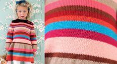 La robe jersey rayé filletteChic, l'hiver arrive. C'est la saison des petites robes chaudeset colorées de rayures vives. Un adorable modèle pour fillettes.
