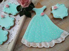 Aqua Blue Dress Cookie
