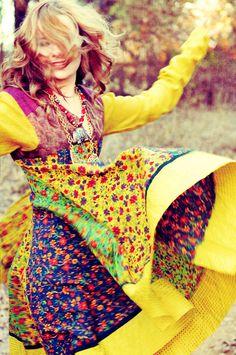 Color burst 70s Indian dress