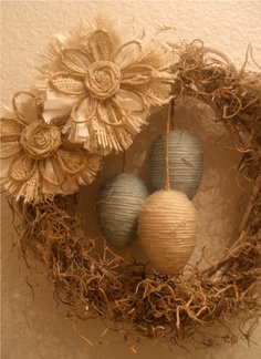 Easter nest wreath with twine-wrapped eggs