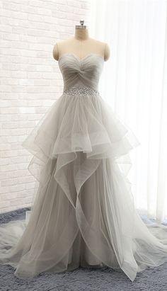 Cute Light Gray Bridal Dress, Long Dress,Tulle Sweetheart-Style Wedding Dress