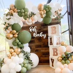 Deco Baby Shower, Baby Shower Balloons, Baby Shower Green, Baby Shower Backdrop, Baby Shower Themes Neutral, Baby Shower Balloon Decorations, Jungle Theme Baby Shower, Baby Shower Garland, Safari Party Decorations