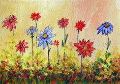 Whimsical Garden  Original Floral Watercolor Painting by halinapl, $65.00