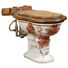 """Rare, Complete 19th Century French """"Porcelaine Anglaise Cauldon"""" Hand Painted Bidet 