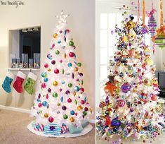 как украсить новогоднюю елку, белая новогодняя елка как украсить, варианты украшения новогодней елки, примеры украшения новогодних елок