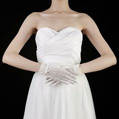 Cotton / Lace Wrist Length Fingertips Bridal Gloves With Embroidery (More Colors) – USD $ 9.99