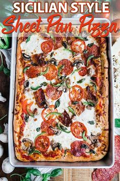 Sheet Pan Sicilian Pizza Recipe - Sheet Pan Sicilian style pizza recipe is homemade in a sheet pan to help feed the whole family! It's delicious made up of homemade dough cheeses and toppings and it's incredibly easy to make. Sicilian Pizza Recipe, Sicilian Style Pizza, Sicilian Recipes, Sicilian Food, Thin Crust Pizza, Pizza Dough, Pizza Pizza, Pizza Rolls, Bread Rolls