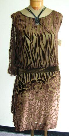 1920's brown cut velvet gown