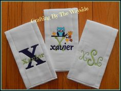 Set of 3 Burp Cloths $20.00 Message me for your personal order. https://www.etsy.com/shop/CraftingByTheWayside