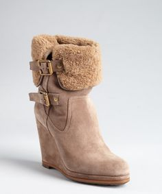 Christian Dior women's taupe quilted suede shearling buckled convertible wedge boots