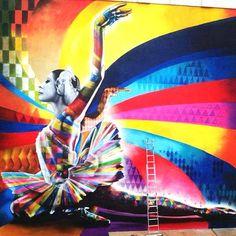 """The Dancer"" By Eduardo Kobra, a Street Art tribute to Maya Plisetskaya, one of the leading names in Russian ballet. Graffiti Art, Amazing Street Art, Amazing Art, Op Art, Kobra Street Art, Urbane Kunst, The Dancer, Modern Metropolis, Arte Popular"