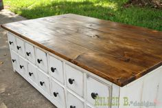 love this coffee table - the white paint was aged with coffee!