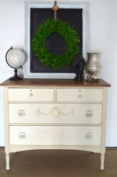 Old Ochre and Old White Chalk Paint® on a pretty dresser | Lindsey Vogel Design