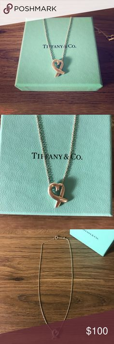 Tiffany & Co. heart necklace Authentic Tiffany and Co. Paloma Picasso 925 sterling silver Loving Heart necklace. Chain measures 15''. Beautiful and timeless! There is some very slight scratching if you look closely. Please no lowball offers. Tiffany & Co. Jewelry Necklaces