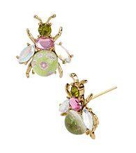 Betsey Johnson® Pink/Green Crystal Bug Stud Earrings