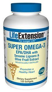 """SUPER OMEGA-3 (EPA - DHA) acidos grasos con lignanos de sésamo y polifenoles de oliva de LIFE EXTENSION es considerado probablemente el mejor suplemento del mundo de Omega 3.    """"La cantidad de propiedades del Omega 3 jamás dejará de sorprenderme""""   Dr Nicholas Perricone (""""Ageless face, ageless mind"""", 2007)    """"El Omega 3 es uno de los mejores antiinflamatorios conocidos""""   Dr Jospeh Maroon (""""The Longevity Factor"""", 2009)  Solo 32,40€ online."""