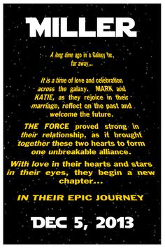 "Custom STAR WARS Wedding Poster 11""x16.5"""