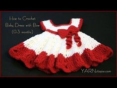How to Crochet a Baby Dress with a Bow - YouTube