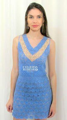 Celeida Ribeiro: Vestido de crochê