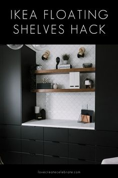 Easy DIY Floating Shelves that you can put in any home! Love the idea of using the IKEA Lack Shelves for the base in this genius IKEA hack! Hang these shelves in the bathroom, kitchen, bedroom, office, living room, or anywhere that needs shelving! Cheap and affordable wooden shelves that you can customize with any stain of your choice! Learn how to build these simple guys in one afternoon! #woodworking #floatingshelves #bookshelves #office #moderndecor #moderndesign #ikeahack #ikea Ikea Lack Shelves, Lack Shelf, Ikea Floating Shelves, Wooden Shelves, Ikea Lack Regal, Blogger Home, Wood Store, Ikea Kitchen, Kitchen Cabinets