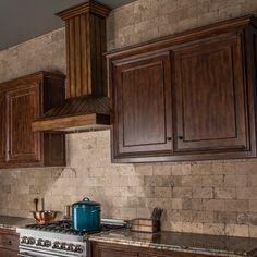 Backsplash With Dark Cabinets, Brown Cabinets, Stone Backsplash, Cherry Cabinets, Dark Kitchen Cabinets, Kitchen Backsplash, Kitchen Counters, Backsplash Ideas, Countertops