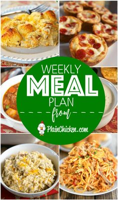 quick and easy recipe for everyday of the week. Main dishes, side dishes and desserts! Something for everyone on this meal plan! Family Meal Planning, Planning Budget, Family Meals, Menu Planning, Weekly Meal Plan Family, Frugal Meals, Budget Meals, Quick Easy Meals, Inexpensive Meals