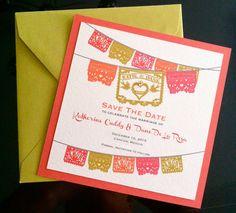 Dia de los Muertos Skull Papel Picado Fiesta Save the Date &  Invitation cards I design, you print Day of the Dead