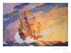 Columbus Crossing the Atlantic, 1927 Giclee Print by Newell Convers Wyeth at AllPosters.com