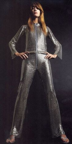 The lovely Françoise Hardy in a metal-link jumpsuit by Paco Rabanne, 1968