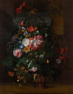 Foto: What's hiding in the undergrowth of Rachel Ruysch's bold and beautiful flower painting? Listen along to BBC Radio 4's Moving Pictures series to find out: goo.gl/6fNfG9   Painting from the collection of the Women in The Arts museum, digitized in Gigapixel by Google Arts & Culture.