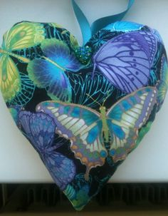 Butterfly Fabric Lavender Heart / Butterfly Gift / Mother's Day - Handmade in Home, Furniture & DIY | eBay