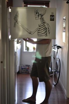 Skeleton on the fridge.