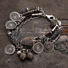 labradorite chain bracelet • 925 sterling silver • charm link bracelet  oxidized silver • leather bracelet