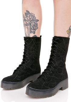 Iron Fist Noir Walking In My Web Heavy Sole Boots ...leave a message and I'll consider gettin' back to ya. These amazin' boots feature a smooooth black vegan suede construction, rounded toe, comfy platforms with treaded sole, crazy embroidered spider web print all over, and full length lace-ups.