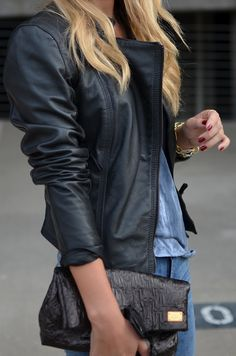 I like that all black leather jacket! Pet peeve=silver zipper and gold jewelry  I know it's dumb...