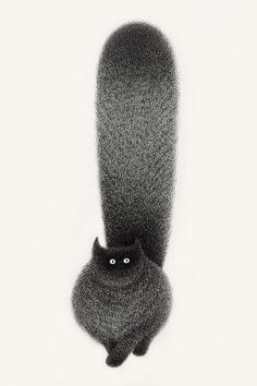 Artist Kamwei Fong is the creator of The Furry Thing series: a collection of adorable fluffy black cat ink drawings.