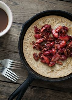 Whole Wheat Dutch Baby with Maple-Pecan Strawberries | Naturally Ella