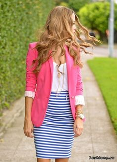 Pink blazer with stripes.