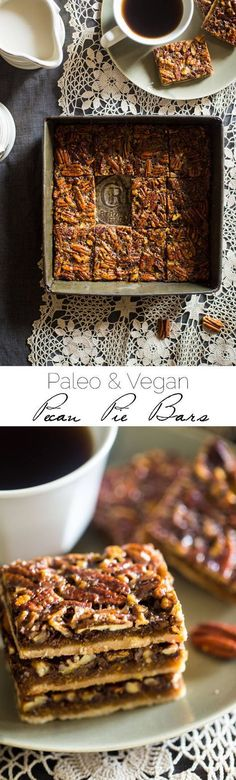 Vegan + Paleo Pecan Pie Bars - These bars are so easy to make and only have 6 ingredients. You would never know they're secretly a healthy, gluten free, and vegan-friendly treat that's perfect for Thanksgiving! | http://Foodfaithfitness.com | @FoodFaithFit