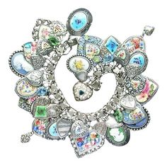 Vintage Sterling Sil  Vintage Sterling Silver Enamel Roses Guilloche Heart Charm Bracelet Mosaics Cameo Flowers