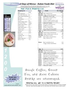 6 Printable 1200 Calorie Dukan Diet Menus for or 6 Days. Free menus to help you kick start your weight loss goals any day of the week. 3 Day Diet Plan, Diet Meal Plans, Meal Plans To Lose Weight, Weight Loss Diet Plan, Dukan Diet Menu, 2000 Calories A Day, Best Keto Diet, Paleo Diet, Diet Foods
