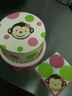 I love using napkins, invites, and fabrics to match the party theme! Monkey Birthday Parties, Birthday Party Themes, Birthday Ideas, Fondant Cakes, Cupcake Cakes, Kid Cakes, Monkey Business, Bakery Cakes, Baking Cupcakes